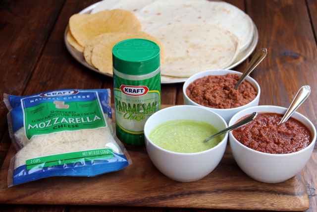 Tortillas, cheese and sauces for pizza