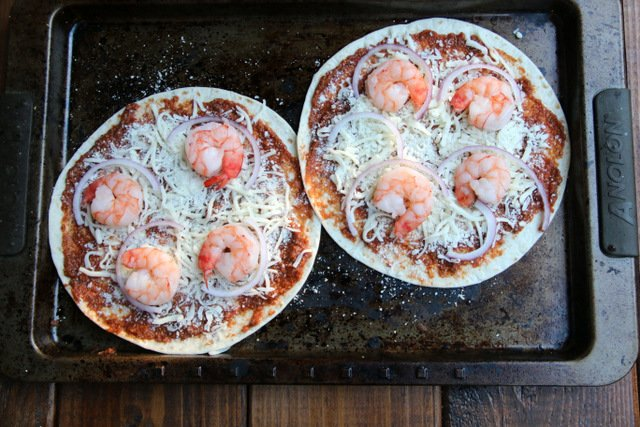Tortilla pizza topped with shrimp
