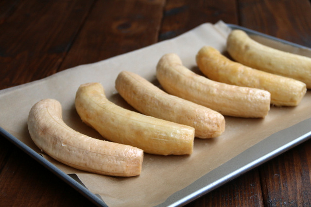 Rub or brush the peeled ripe plantains with butter or oil before baking
