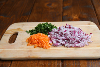 5- Diced habaneros, diced red onions and chopped cilantro