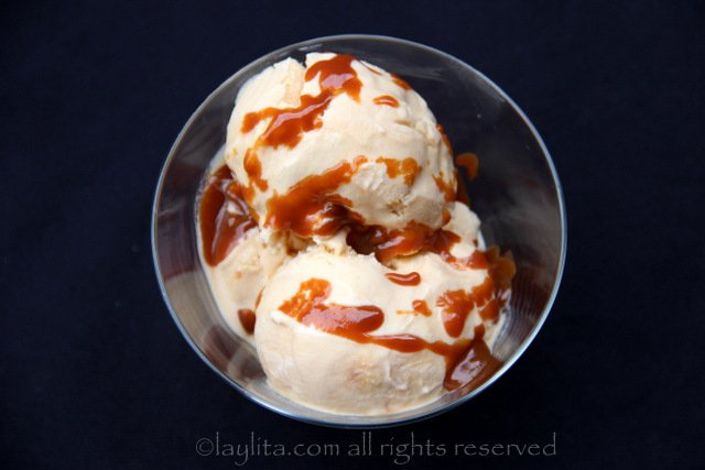 Drizzle warm dulce de leche on top of the ice cream