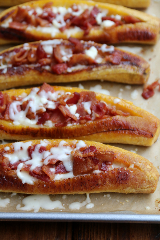 Bacon and cheese stuffed plantains
