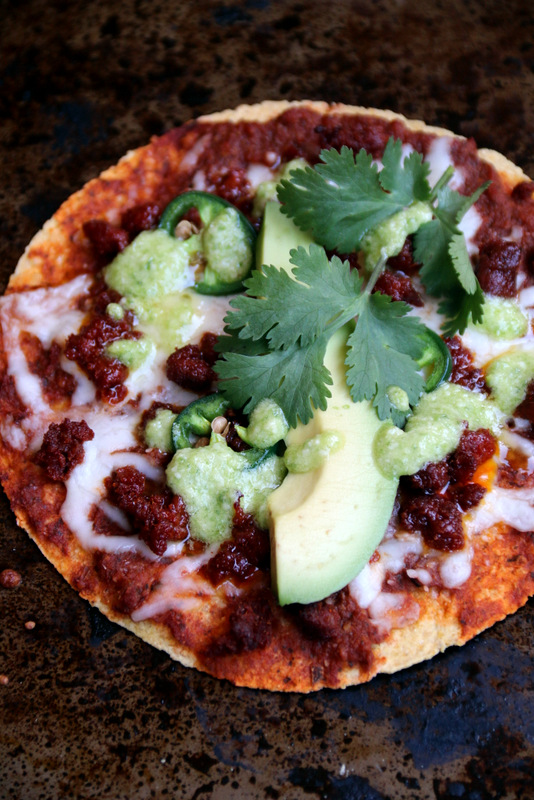 Chorizo tortilla pizza