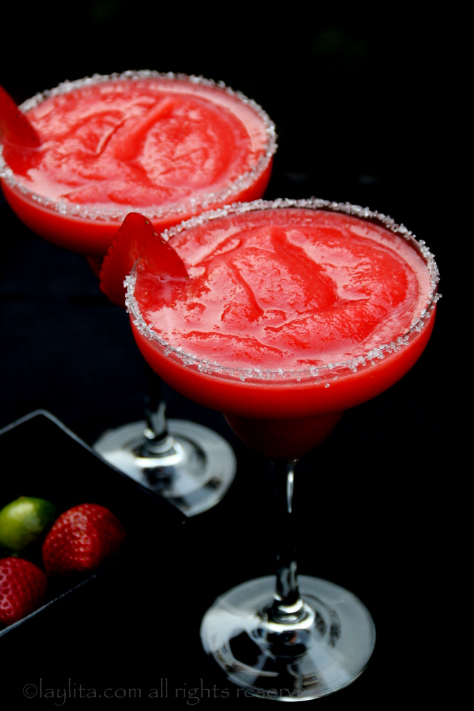 Frozen or frappe strawberry margaritas