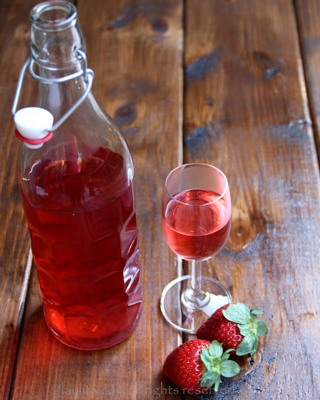 Homemade strawberry infused tequila