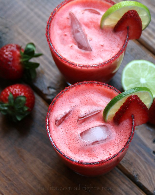 Homemade strawberry margaritas