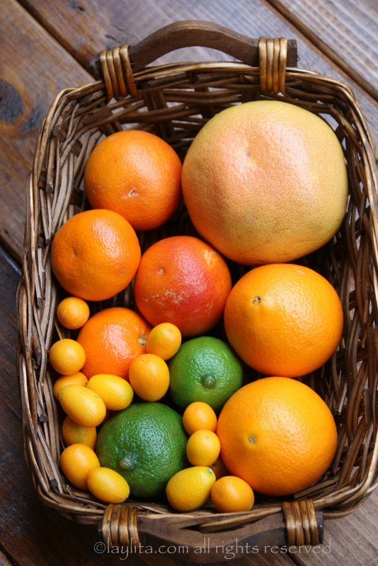 Oranges, grapefruit, mandarins, kumquats and lime for salsa