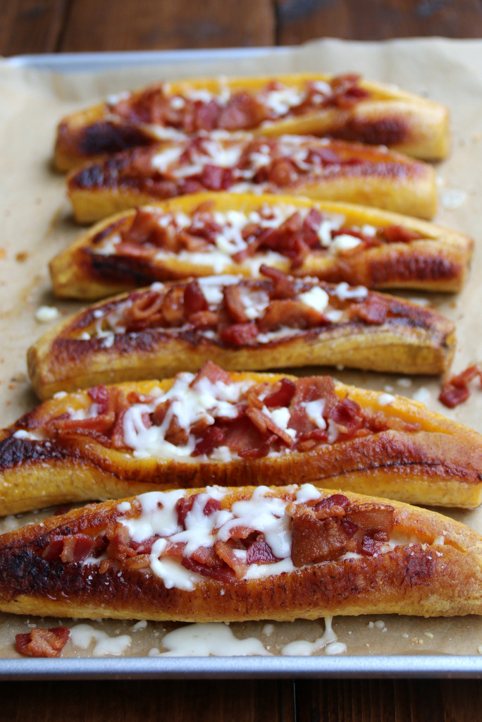 Baked ripe plantains stuffed with bacon and cheese