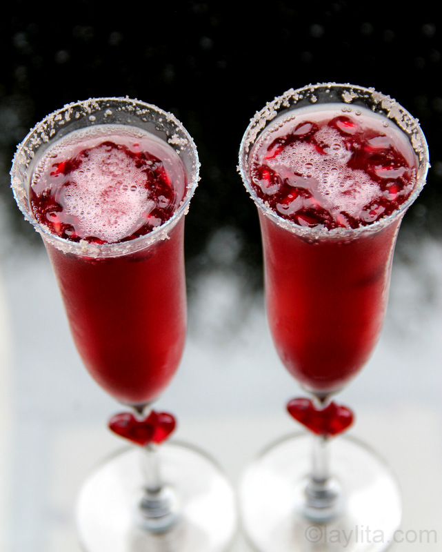 Pomegranate tequila cocktail for Valentine's Day