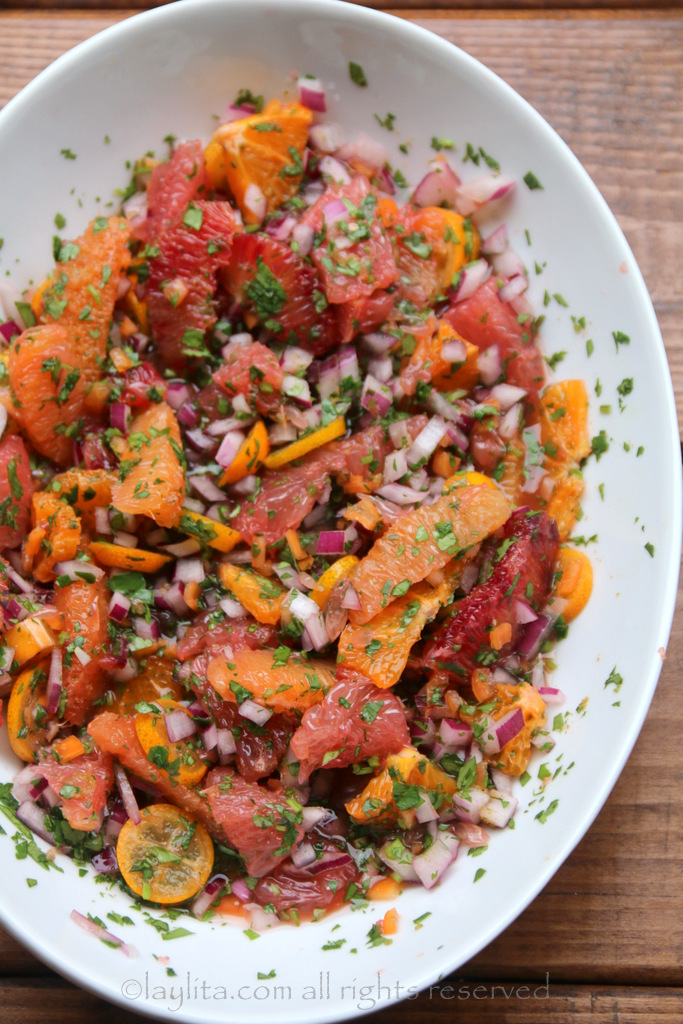 Salsa with citrus fruit and habanero peppers