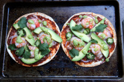 Shrimp tortilla pizzas