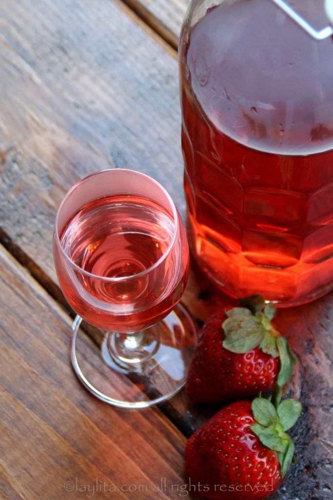 Strawberry infused liqueur