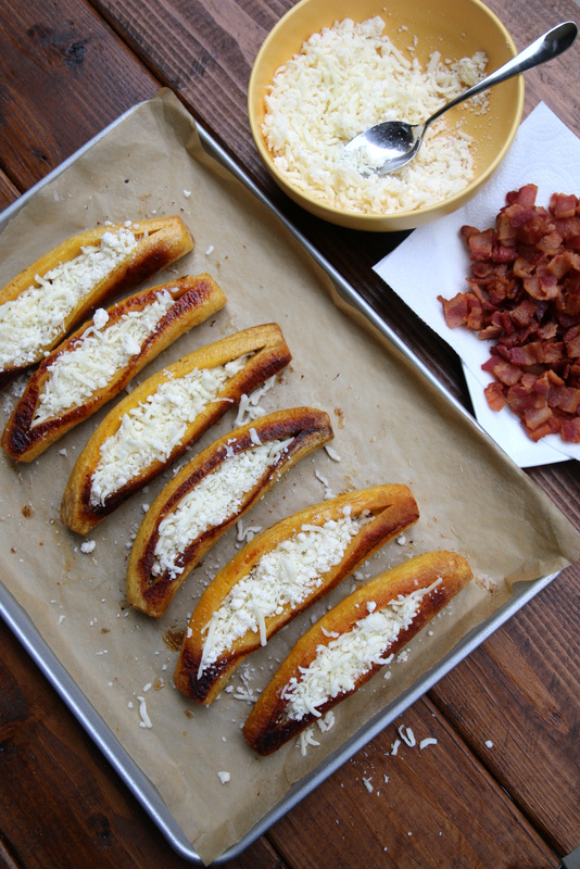 Stuffing ripe plantains with cheese and bacon