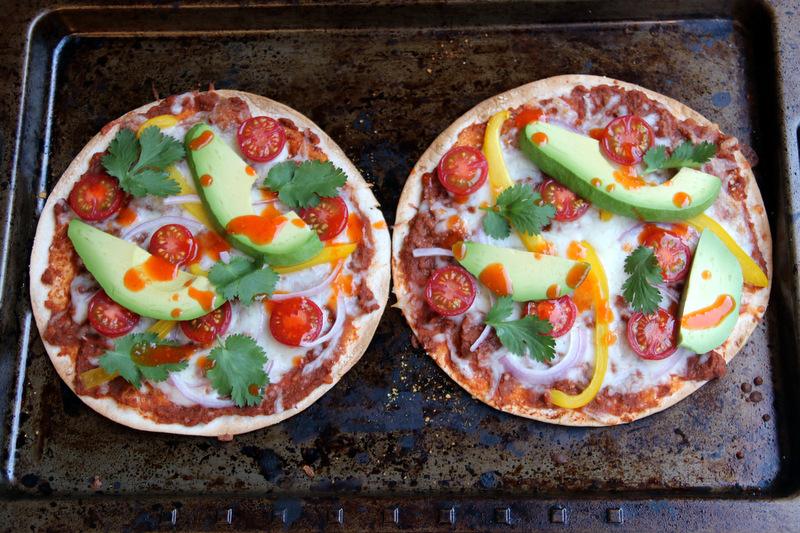 Veggie tortilla pizzas