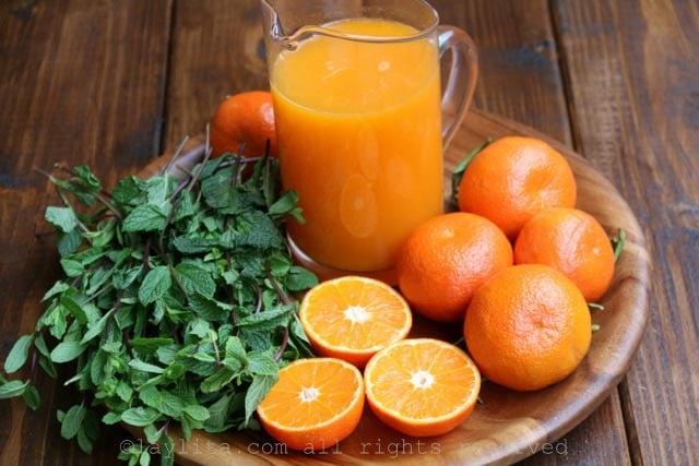 Ingrédients pour le mojito de mandarine