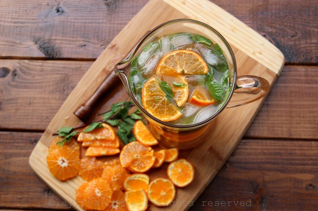 Mandarines, menthe et rhum pour le mojito