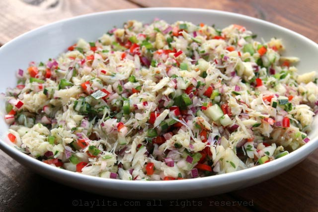 The crab salad can be made in advance and refrigerated until ready to use