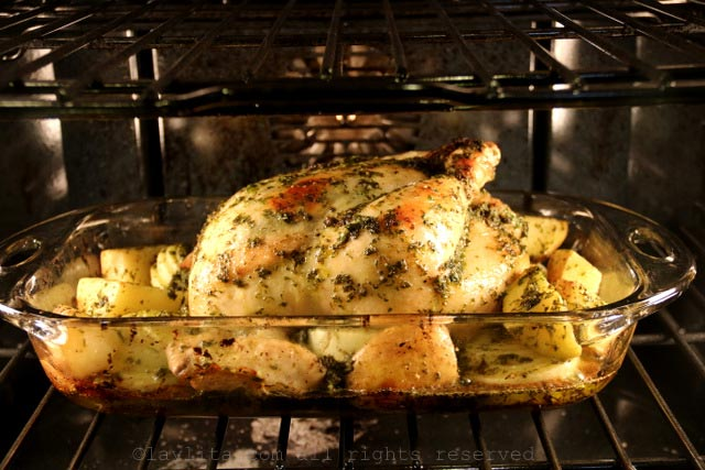 Bake the chicken at 425F for 30 minutes