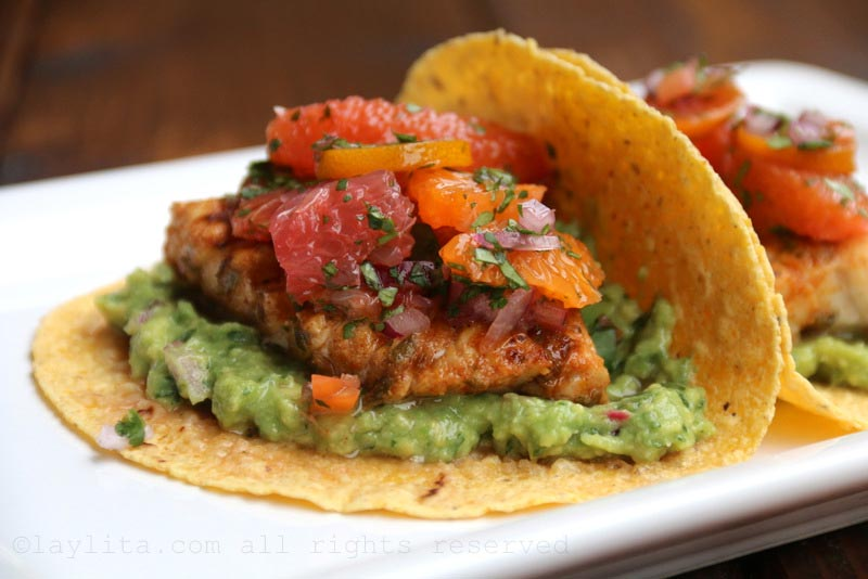 Fish tacos with citrus salsa and guacamole