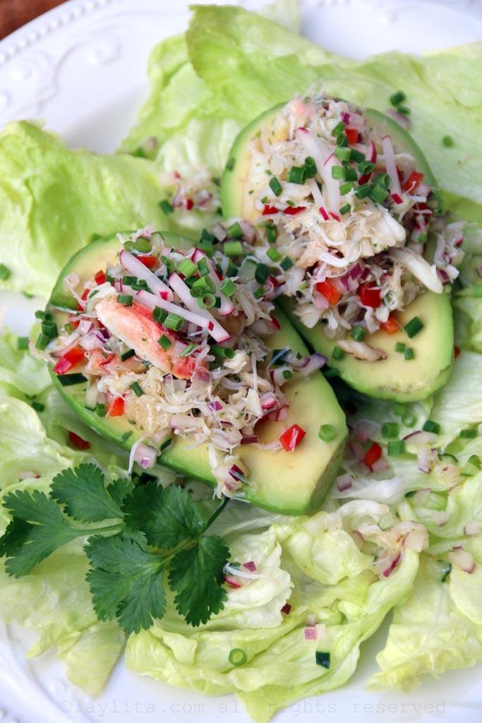 Avocados stuffed with crab salad
