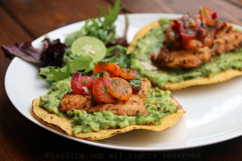 Citrus marinated grilled fish tostadas