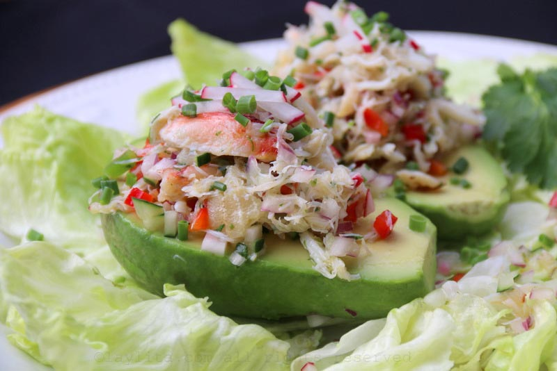 Crab stuffed avocados
