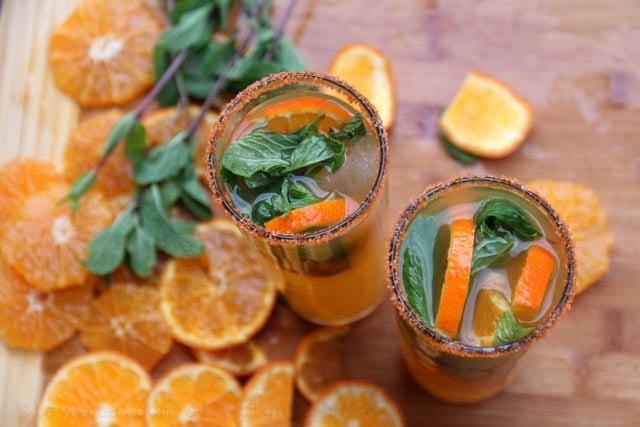 Mandarin mojito cocktails