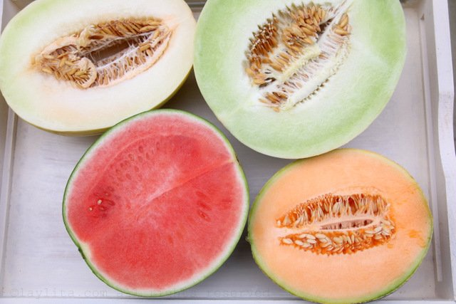 Honeydew melon (white and green), watermelon, and canteloupe