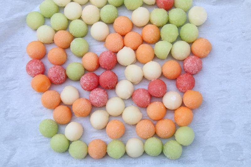 Bolas de gelo de melão