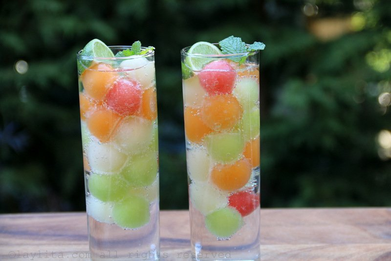 Use melon ball ice cubes to make a refreshing sparkling water drink