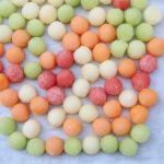 Frozen melon ball ice cubes