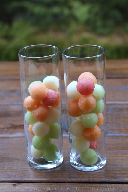 Frozen melon balls as ice cubes