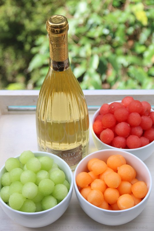 Melons balls and moscato wine