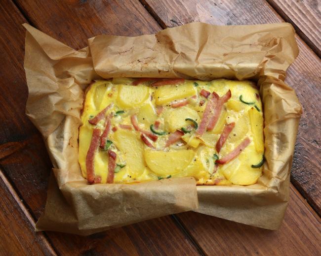 Baked Spanish potato tortilla with ham