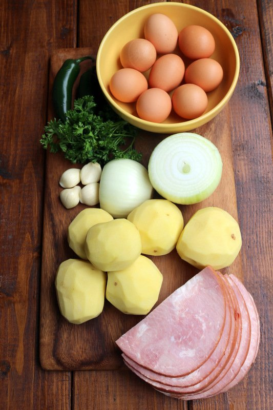 Spanish potato ham tortilla ingredients