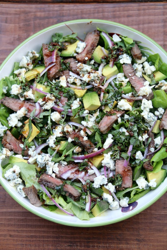 Steak Salad With Blue Cheese And Avocado Laylita S Recipes
