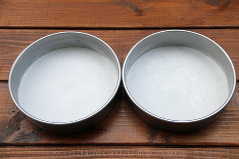 Grease and flour 2 8inch round cake pans, line them with baking paper