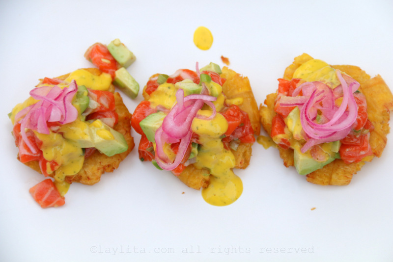 Avocado and salmon tartare as a topping for tostones or patacones