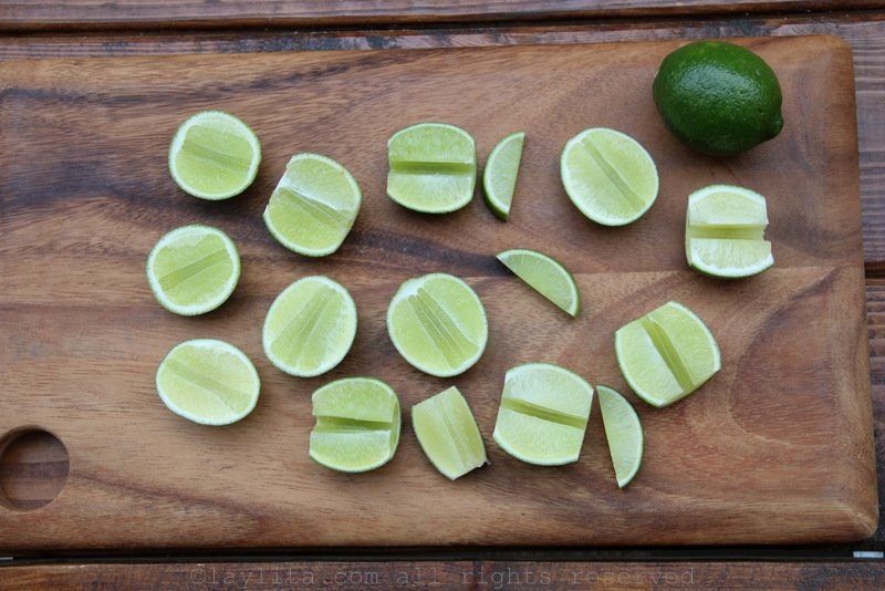 Lime halves and quarters to make caipirinhas