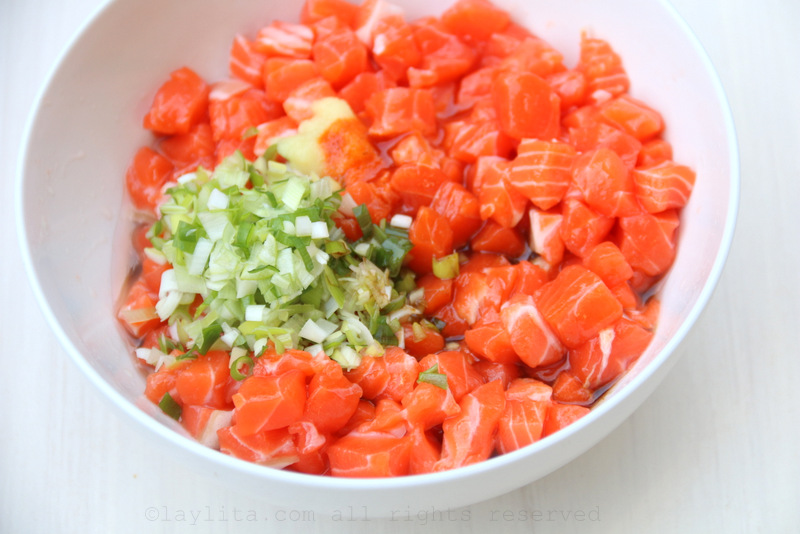 Mix the salmon with the rest of ingredients for the salmon tartare