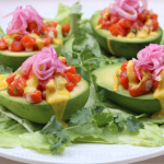 Avocados with salmon tartare