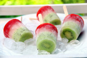 Mexico flag paletas or kiwi, lime, and strawberry popsicles