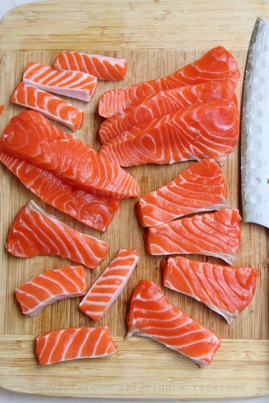 Preparing salmon tartare