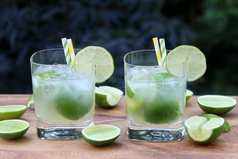 Classic caipirinha cocktail
