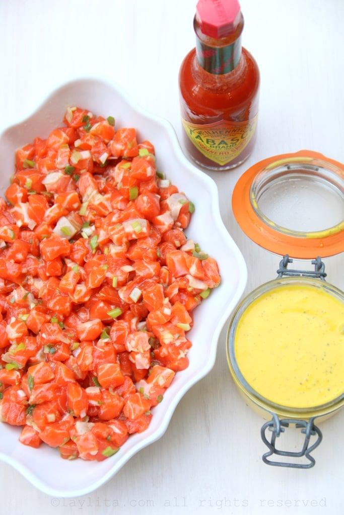 Salmon tartare with mango habanero sauce