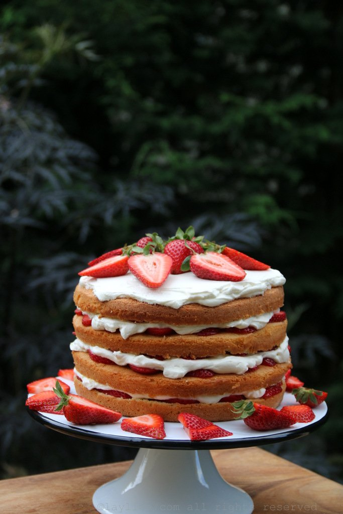 Strawberries and cream tall cake