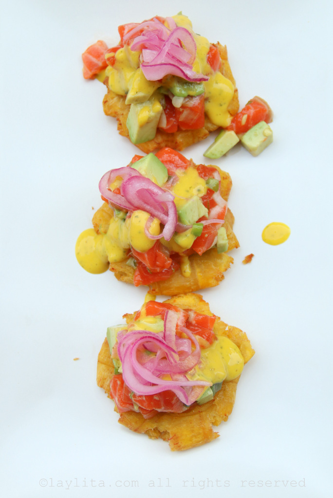 Tostones plantain chips with salmon tartare