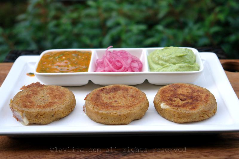 Serve the green plantain patties with sauces or toppings