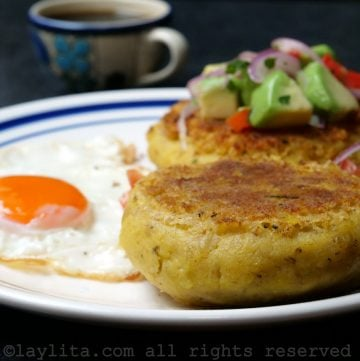 Ecuadorian mashed green plantain patties or tortillas de verde
