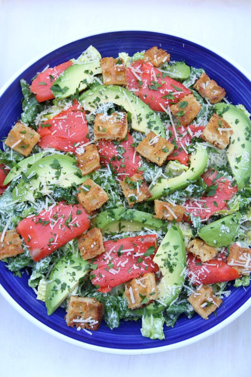 salads: Mixed salad with avocado dressing and salmon/avocado ...